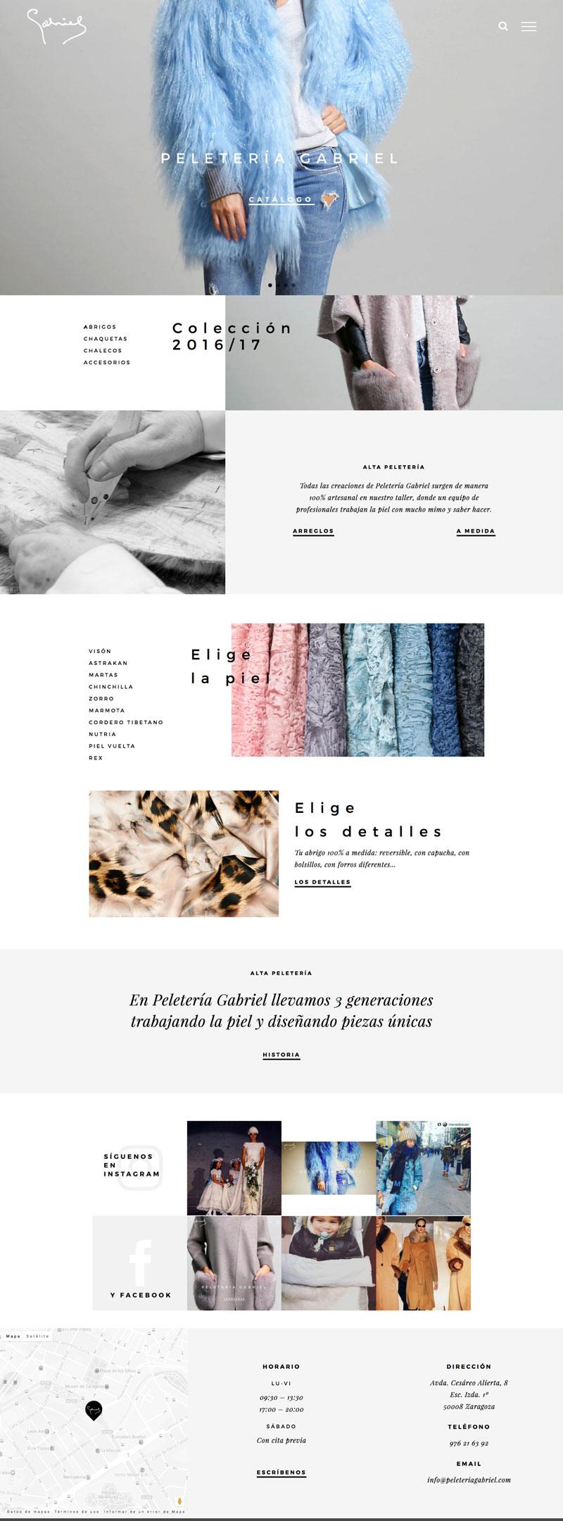 diseño web, diseño gráfico, fotografía, peletería gabriel, unamina